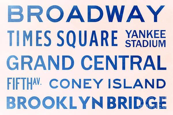 Midtown Manhattan Digital Art - New York City Subway Sign Typography Art 5 by Nishanth Gopinathan