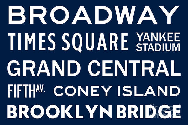 Midtown Manhattan Digital Art - New York City Subway Sign Typography Art 6 by Nishanth Gopinathan