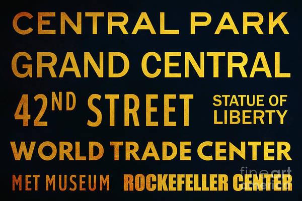 Midtown Manhattan Digital Art - New York City Subway Sign Typography Art 8 by Nishanth Gopinathan