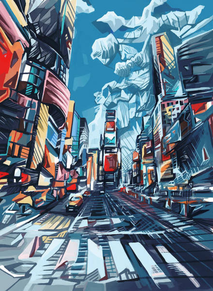 Time Square Painting - New York City-times Square by Bekim M