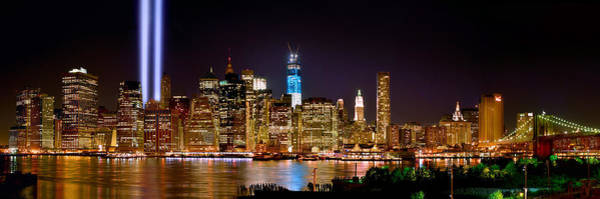 Lower Manhattan Photograph - New York City Tribute In Lights And Lower Manhattan At Night Nyc by Jon Holiday