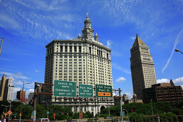 Courthouse Towers Wall Art - Photograph - New York City With Local Traffic Signs by Frank Romeo