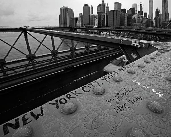 Photograph - New York City You're Beautiful Brooklyn Bridge Ny Black And White by Toby McGuire