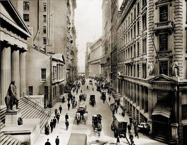 Business Cycles Wall Art - Photograph - New York Citys Wall Street, Looking by Everett