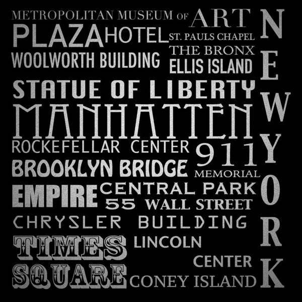 Wall Art - Digital Art - New York Famous Landmarks Silver by Patricia Lintner