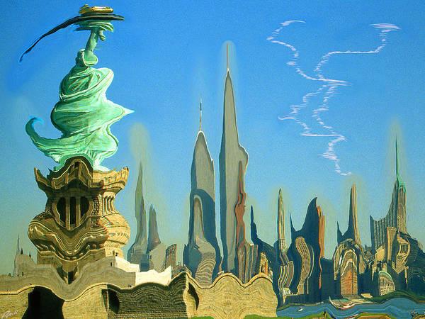 Painting - New York Fantasy Skyline - Modern Artwork by Peter Potter