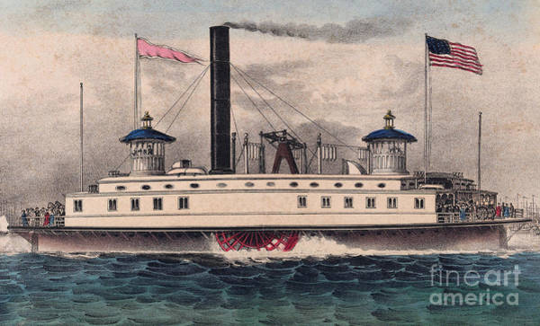 Wall Art - Painting - New York Ferry Boat by Currier and Ives