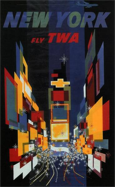Wall Art - Painting - New York - Geometric Abstract Vintage Poster by Studio Grafiikka