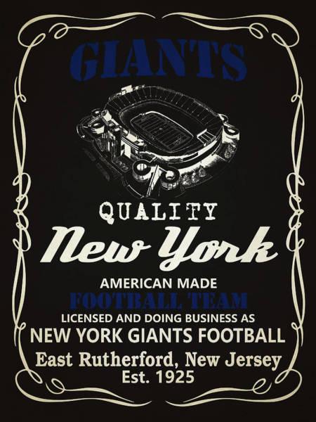 Whiskey Mixed Media - New York Giants Whiskey by Joe Hamilton