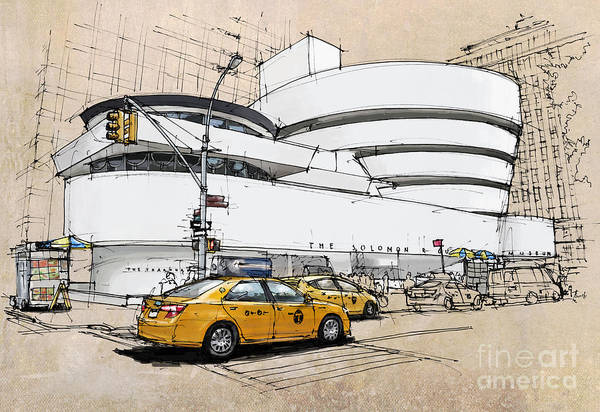 Wall Art - Painting - New York Guggenheim, Umbrellas And Yellow Cabs by Drawspots Illustrations