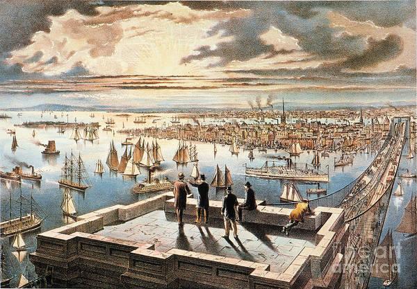Photograph - New York Harbor, C1882 by Granger