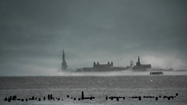 Photograph - New York Harbor With Fog by Chris Lord