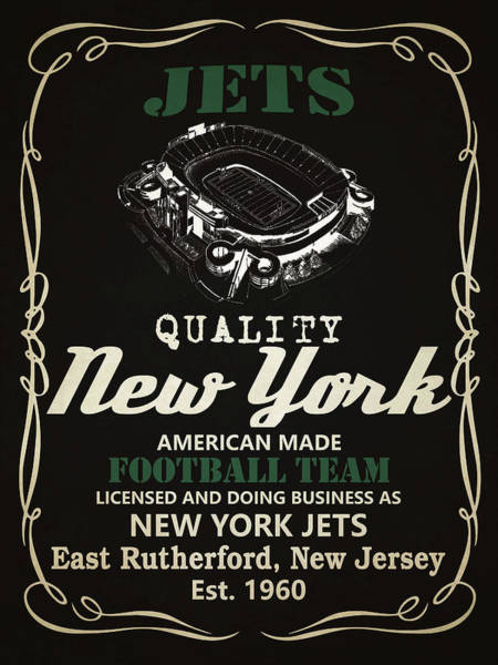 New York Jets Wall Art - Mixed Media - New York Jets Whiskey by Joe Hamilton