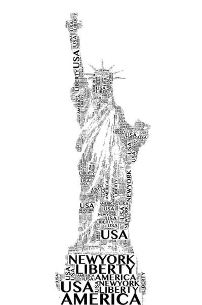 Digital Art - New York Lady Liberty Words by Alice Gipson