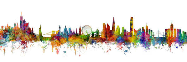 Wall Art - Digital Art - New York, London And Hong Kong Skyline Mashup by Michael Tompsett