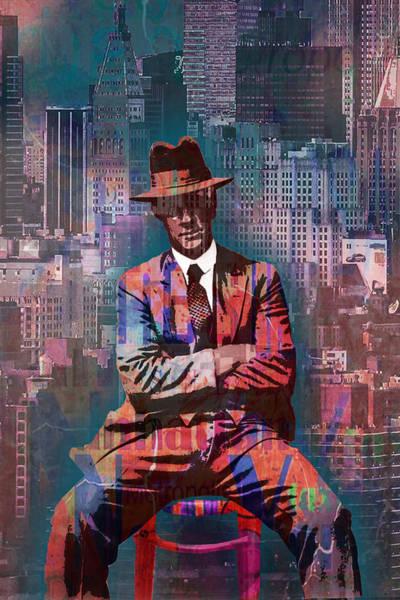 Manhattan Skyline Painting - New York Man Seated City Background 2 by Tony Rubino