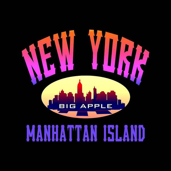 Clothing Design Mixed Media - New York Manhattan Island Design by Peter Potter