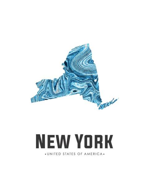 Wall Art - Mixed Media - New York Map Art Abstract In Blue by Studio Grafiikka