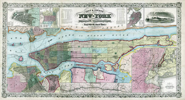 Wall Art - Photograph - New York Map Ca 1857 by Jon Neidert
