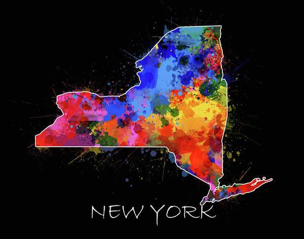 Wall Art - Digital Art - New York Map Color Splatter 2 by Bekim M