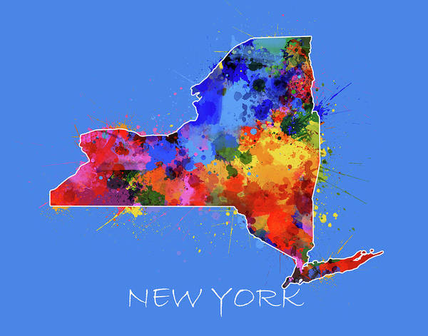 Wall Art - Digital Art - New York Map Color Splatter 3 by Bekim M