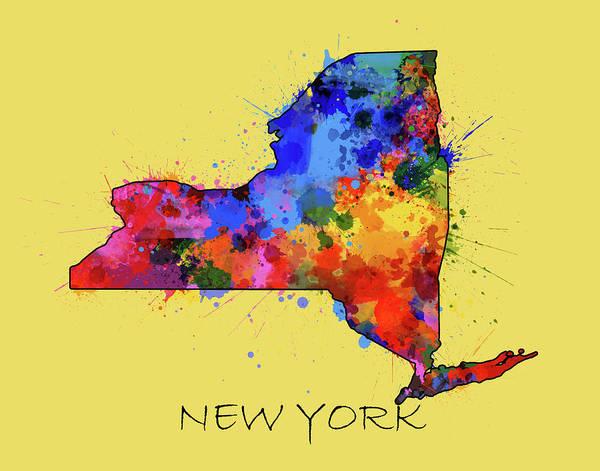 Wall Art - Digital Art - New York Map Color Splatter 4 by Bekim M