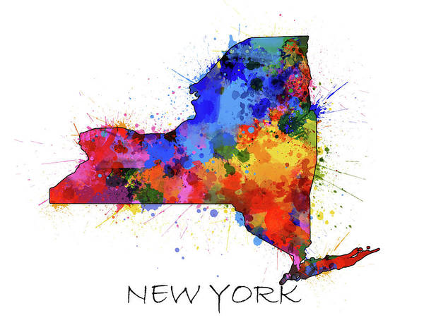 Wall Art - Digital Art - New York Map Color Splatter  by Bekim M
