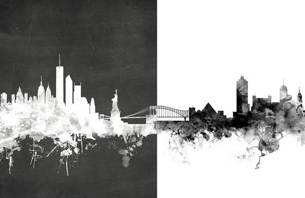 Digital Art - New York Memphis Skyline Mashup by Michael Tompsett
