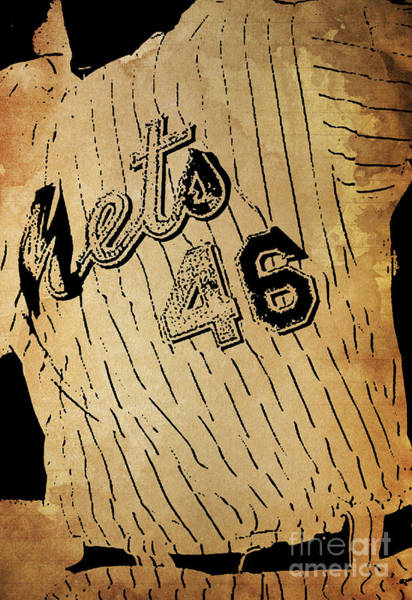 Wall Art - Painting - New York Mets 46 Red And Blue Vintage Cards On Brown Background by Drawspots Illustrations
