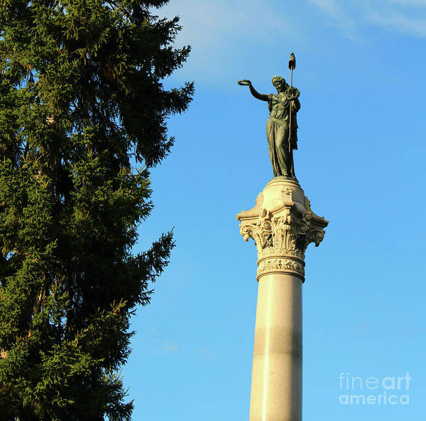 Cementery Photograph - New York Monument At Gettysburg by Dan O'Neill