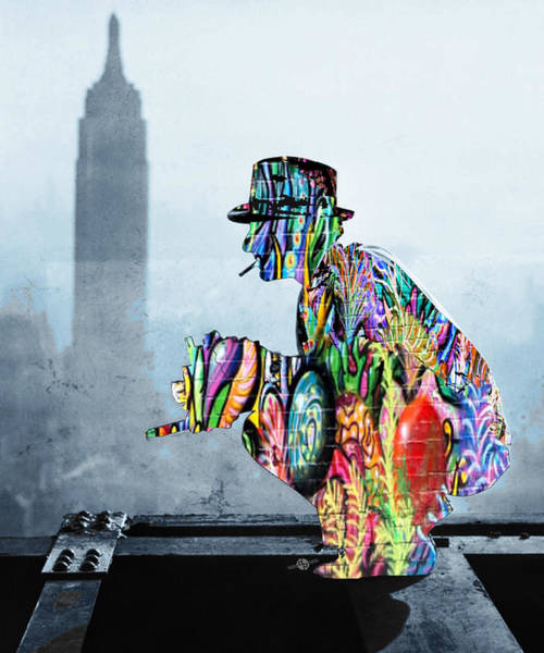 Manhattan Skyline Painting - New York Photographer On Unfinished Skyscraper And Skyline Blue by Tony Rubino