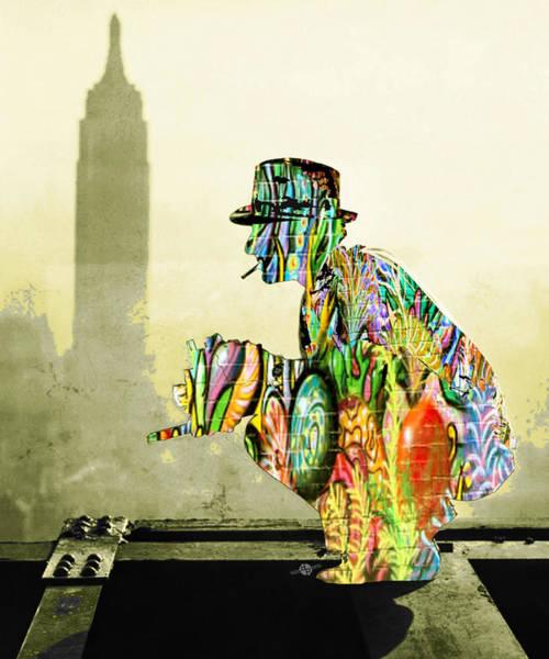 Manhattan Skyline Painting - New York Photographer On Unfinished Skyscraper And Skyline Gold by Tony Rubino