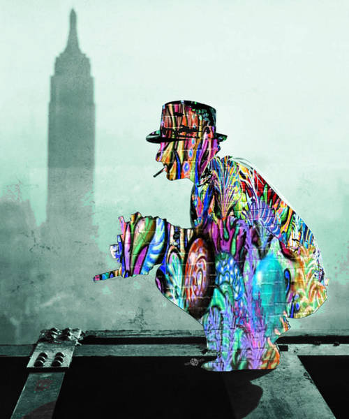 Manhattan Skyline Painting - New York Photographer On Unfinished Skyscraper And Skyline Green by Tony Rubino