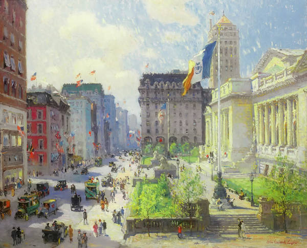 Manhattan Skyline Painting - New York Public Library - 1910s by Mountain Dreams