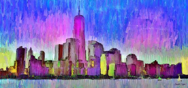 Capitalism Digital Art - New York Skyline 4 - Da by Leonardo Digenio