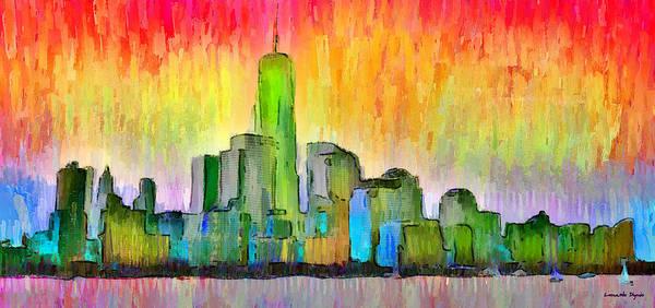 Manhattan Skyline Painting - New York Skyline 6 - Pa by Leonardo Digenio