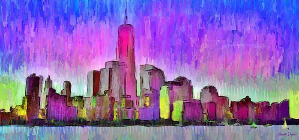 Capitalism Digital Art - New York Skyline 7 - Da by Leonardo Digenio