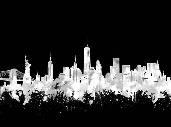 Wall Art - Digital Art - New York Skyline Black And White 2 by Bekim M