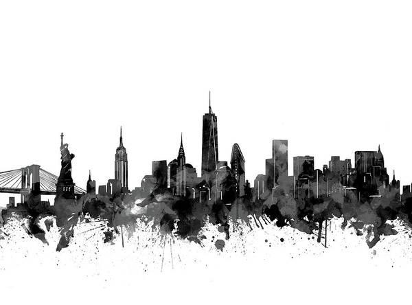 Statue Of Liberty Digital Art - New York Skyline Black And White by Bekim Art