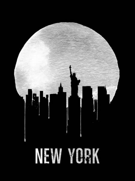 Dreamy Wall Art - Digital Art - New York Skyline Black by Naxart Studio