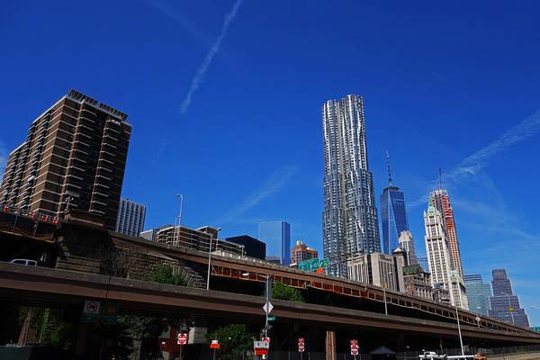 Photograph - New York Skyline Brooklyn Bridge Construction by Toby McGuire