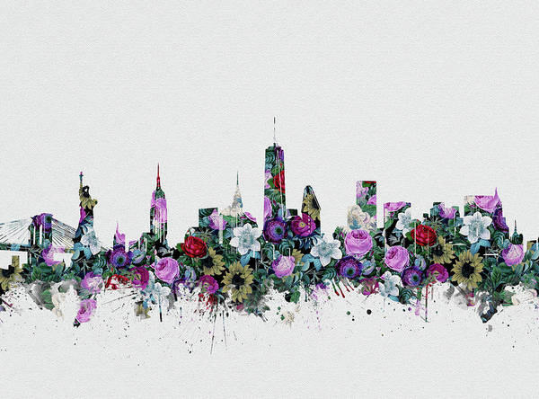 Wall Art - Digital Art - New York Skyline Floral 2 by Bekim M
