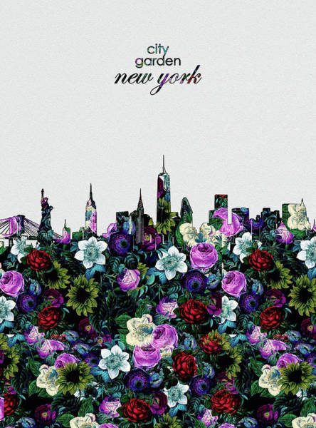 Wall Art - Digital Art - New York Skyline Floral 4 by Bekim M