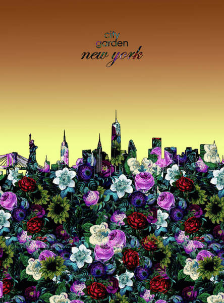 Wall Art - Digital Art - New York Skyline Floral 5 by Bekim M
