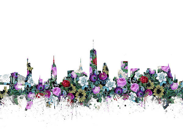 Wall Art - Digital Art - New York Skyline Floral by Bekim M