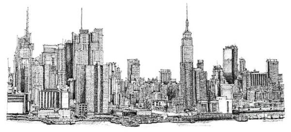 Ink Pen Drawing - New York Skyline In Ink by Adendorff Design