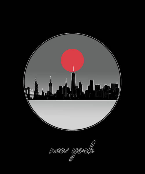 Wall Art - Digital Art - New York Skyline Minimalism 10 by Bekim M