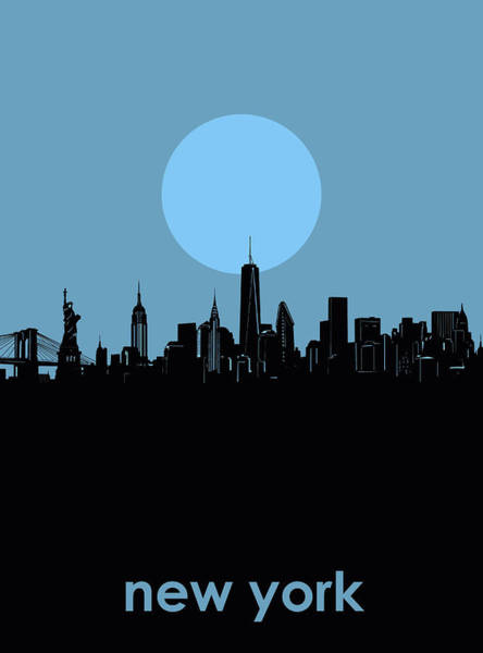 Wall Art - Digital Art - New York Skyline Minimalism 2 by Bekim M