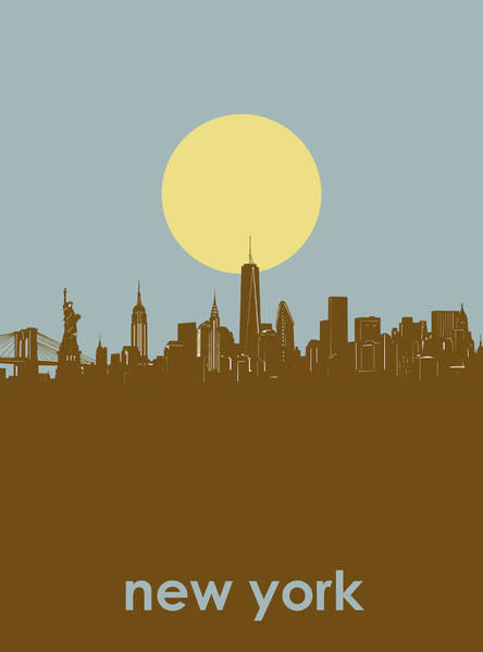 Wall Art - Digital Art - New York Skyline Minimalism 3 by Bekim M