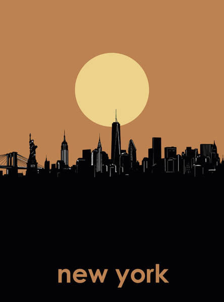 Wall Art - Digital Art - New York Skyline Minimalism 6 by Bekim M